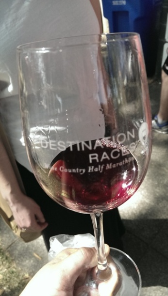 Wine glass at the end for tasting